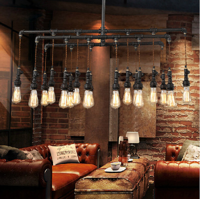 Loft American Industrial Style Black Painted Iron Water Pipe Erected Pendant Light With Hemp Rope E27 Edison Bulbs For Cafe Bar