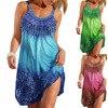 3XL Summer Dresses Women 2021 Beach Style Casual Loose Plus Size Dress Ladies Print Sexy Strap Short Dress 4