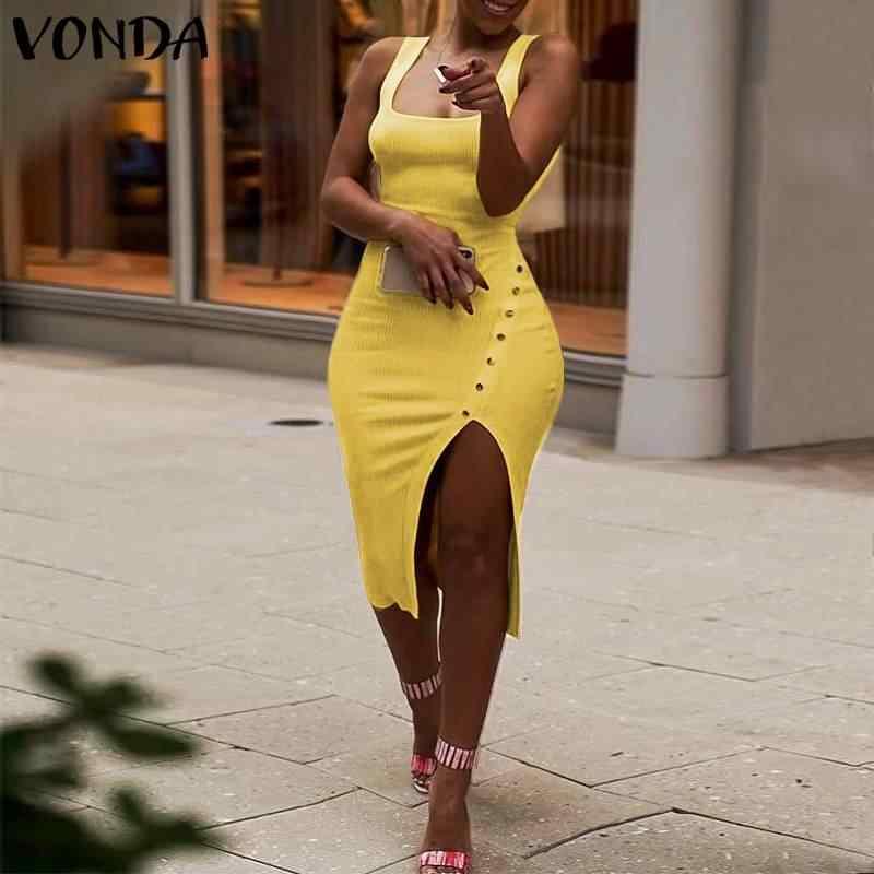 ชุดเซ็กซี่ผู้หญิง VINTAGE Hem แยกปาร์ตี้ Vestidos Bobycon ชุด VONDA 2020 ฤดูร้อนชายหาด Sundress Femininas PLUS ขนาด