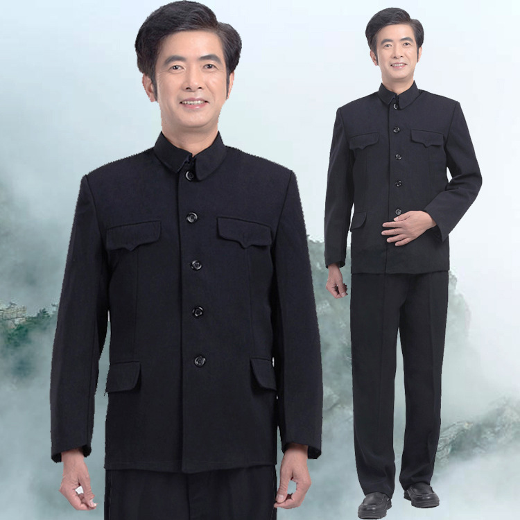 Middle-aged Sun Yat-sen Costume Set Men's Zhongshan Fu An Dou-Fold-down Collar Set Grandpa-Autumn & Winter Costume