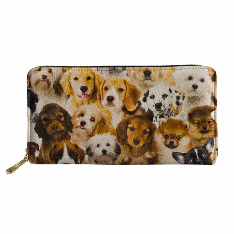 Thikin casual bonito pug golden retriever labrador filhote de cachorro imprimir carteiras meninas bolsa de couro do plutônio das mulheres sacos de embreagem saco do telefone feminino