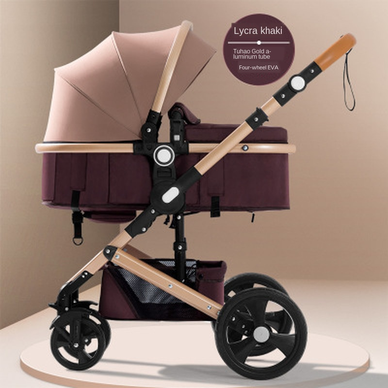 High landscape  travel pram baby stroller can sit and folding lightweight two-way shock absorber four wheels infant carriage