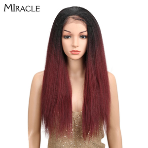 "Miracle Brown Color Yaki Straight Natural Hairline 26""Inch Heat Resistant Fiber Daily Synthetic Lace Front Wigs For Black Women(China)"