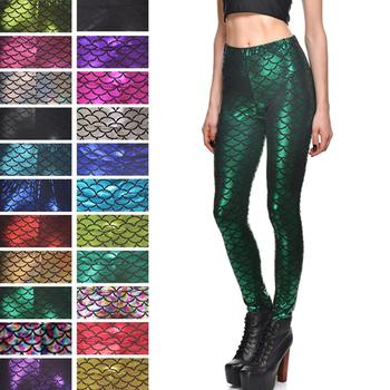 Qickitout 18% Spandex Sexy Colorful Scales Fitness Legging Soft Sports Skinny Running Pants 1