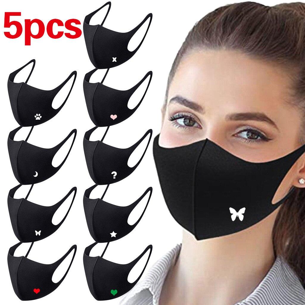 5 шт. черный смываемая маска для лица против пыли загрязнения маска для полости рта письмо печать многоразовая хлопковая футболка для взрос...