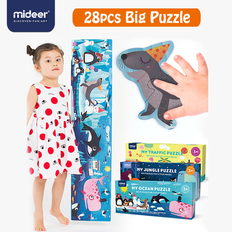MiDeer 28pcs Puzzle Children Puzzles Jigsaw Puzzles Jungle  Education Gift Box Toys Kids Games  Baby Toy 3-6 Y Creative Toys 1