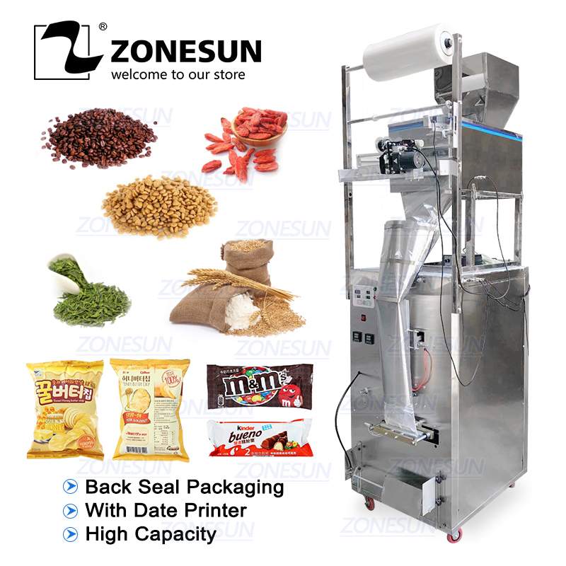 ZONESUN 100-1000g Large Capacity Automatic Filling Sealing Machine Food Coffee Bean Grain Power Bag Back Seal Packaging Machine