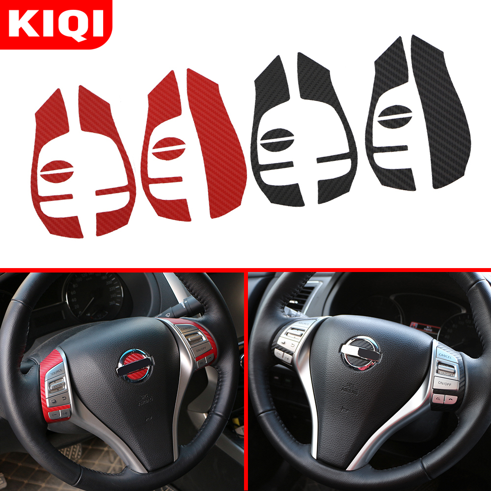 Carbon Fiber Sticker For Nissan X-trail Xtrail T32 Qashqai J11 Teana J33 Car Steering Wheel Decoration Trim Stickers