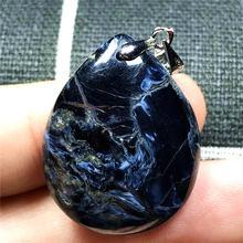Natürliche Blau Pieter Halskette Anhänger Frau Mann Kristall 27x22x6mm Wasser Tropfen Perlen Silber Namibia Feuer stein Schmuck AAAAA