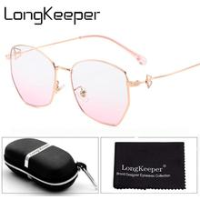 LongKeeper Fashion Polygon Eyeglasses Frame With Case Women Anti Blue Light Glasses Luxury Clear Lens Spectacle Ladies Gift Set