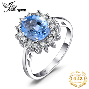 Image 1 - JPalace Princess Diana Genuine Blue Topaz Ring 925 Sterling Silver Rings for Women Engagement Ring Silver 925 Gemstones Jewelry