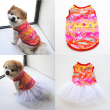 Fashion Small Pet Dog Dress Cotton Cute Couple Models Skirt Good Quality Durable Fashion Lovely Print Puppy Dog Clothing(China)