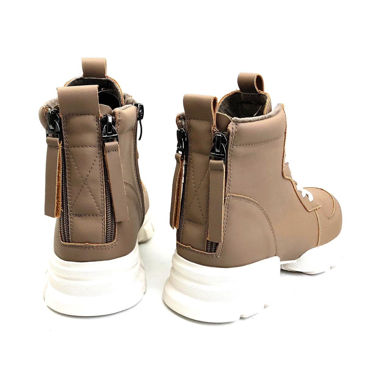 CAILASTE/женские кроссовки; ботинки со шнуровкой на молнии; ботинки шнурки для отдыха; обувь на платформе с бархатной стелькой; спортивные женск... - 4