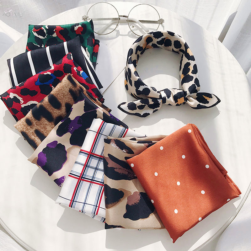 AOMU 50*50 Hair Band Square Scarf Feel Silk Head-Neck Small Tie Vintage Women Satin Elegant Leopard Fashion Scarves Neckerchief