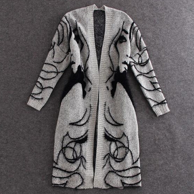 [EWQ] Long Batwing Sleeve Sweater Woman Pullover Loose Open Stitch Abstract Pattern Long Knit Coat 2019 Autumn Winter New  QK369 thumbnail