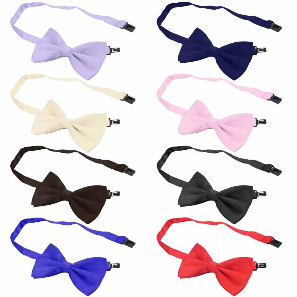 Yeni moda erkek resmi ticari bowties düz renk smokin klasik papyon düğün parti saten kurdele kravat kravat