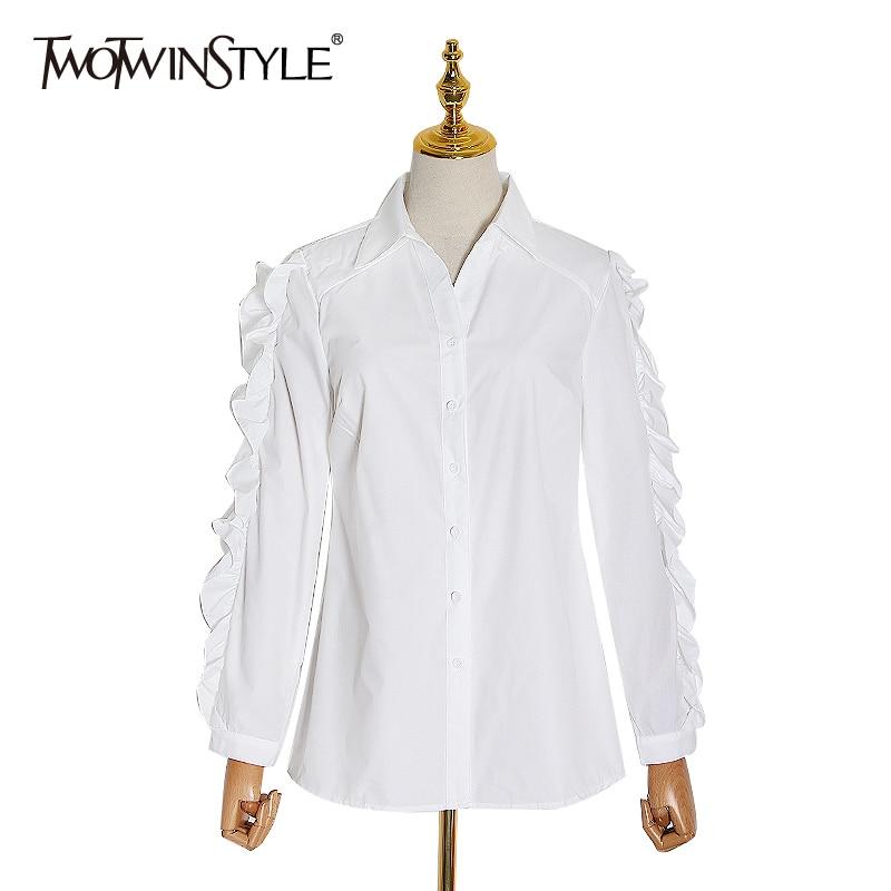 TWOTWINSTYLE Elegant Patchwork Ruffles Blouse Female Lapel Collar Long Sleeve Slim Women Shirt 2020 Spring Clothing Fashion Tide