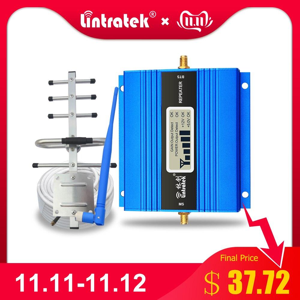 Lintratek LCD affichage Mini GSM répéteur 900MHz téléphone portable GSM 900 amplificateur de Signal amplificateur + antenne Yagi avec câble de 10m