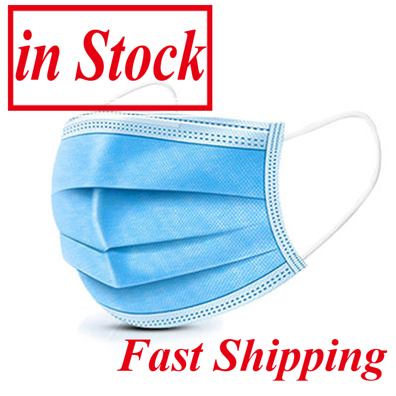 In Stock 100pcs 3-layers Face Mask Mouth Masks Non Woven Disposable Anti-Dust Mouth Cover Mascarillas Fast Shipping In 48 Hours