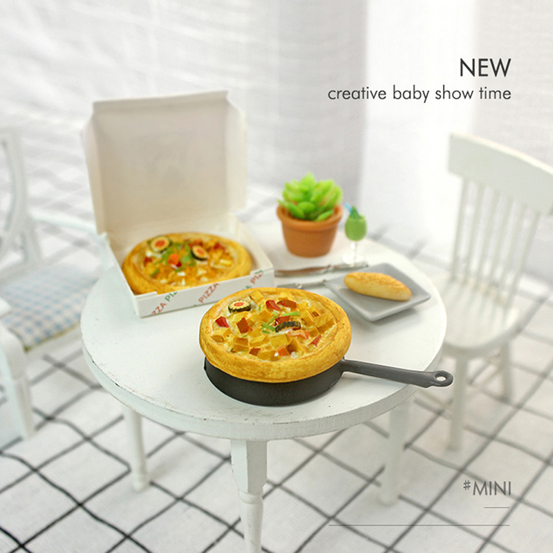 1/12 Dollhouse Miniature Accessories Mini Resin Pizza With Box Simulation Food Model Toys For Doll House Decoration