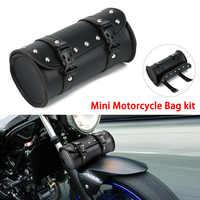 Motorcycle Cruiser Tool Bag Fork Barrel Shape Handlebar Front Fork Bag Black Waterproof Storage Pouch Luggage leather Bag