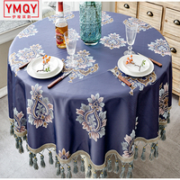 YMQY European style Luxury jacquard Tablecloth With Tassel for Wedding Party Round Table Cover Desk Cloth for home decor H