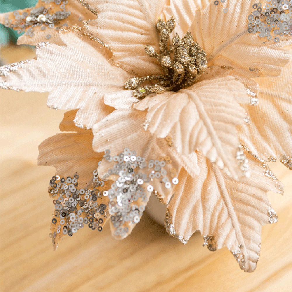Artificial Christmas Flowers Merry Christmas Tree Ornament Artificial Flowers Xmas Tree Glitter Fake Flower Head DIY-0