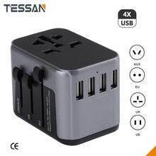 TESSAN 4 USB Alle in Einem Ladegerät Adapter Für Reise mit EU UNS UK AU Stecker Universal Travel Power Ladegerät steckdosen