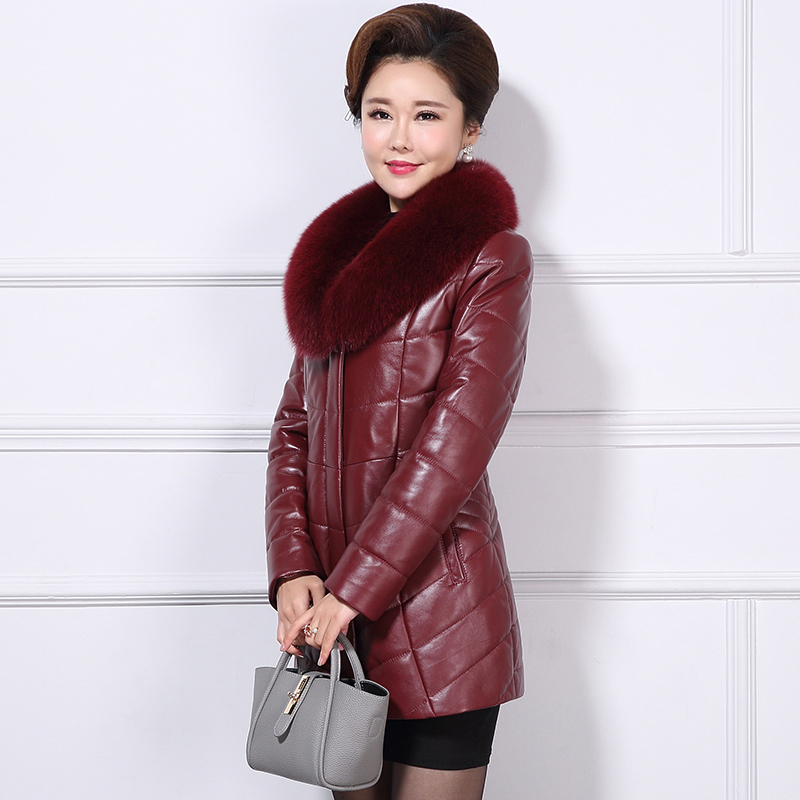 Leather Genuine Jacket Natural Sheepskin Coats Women Thick Warm Alpaca Liner Winter Jackets Real Fox Fur Collar DMS-A82 S