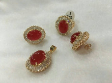 921 +++nicest noble 10*14mm red earrings ring(#7-9) & pendant with chain jewerly sets(China)