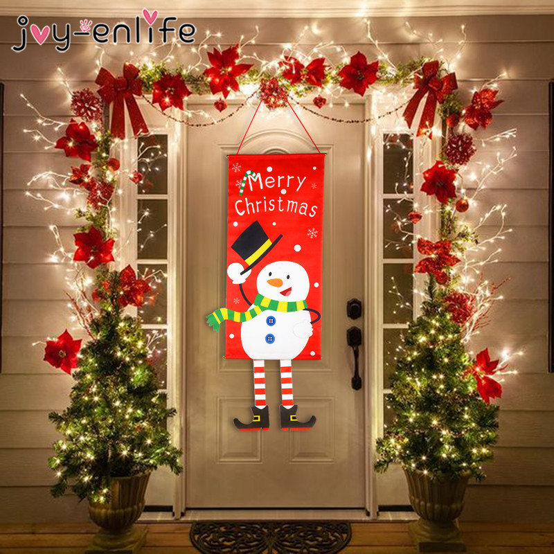Merry Christmas Decorations For Home 2020 Ornaments Garland New Year Noel Glasses Xmas Door Decor Hanging Cloth Christmas Gifts