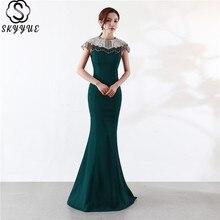 Skyyue Evening Dress O-Neck Sleeveless Mermaid Robe De Soiree Crystal Beading Solid Floor-Length C102