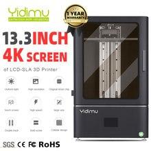 Yidimu sla/lcd/dlp 13.3 4k monocromático grande impressora 3d uv luz cura laser impressoras 3d resina 3d drucker bola parafuso