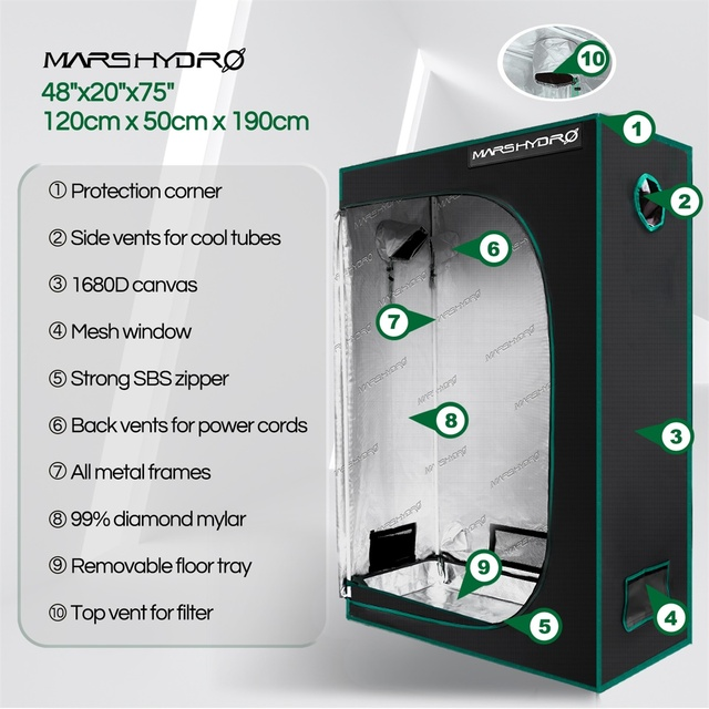 Mars Hydro 120X50X190cm Grow Tent 1680D Water-Proof Non-Toxic Reflective Material for Indoor Growing  2