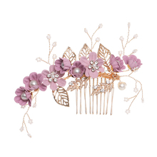 Flowers hair ornaments headdress for elegant bride wedding prom hair comb hair accessories leaves jewelry hairpins цена в Москве и Питере