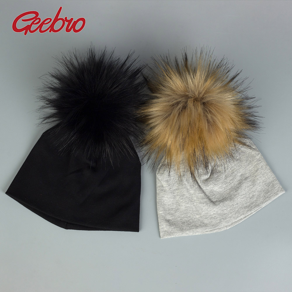 Geebro Baby Fur Balls   Skullie     Beanies   Fashion Girls Winter Hats With Pom Pom Toddler Warm Elastic Hats Unisex Casual Caps DK938