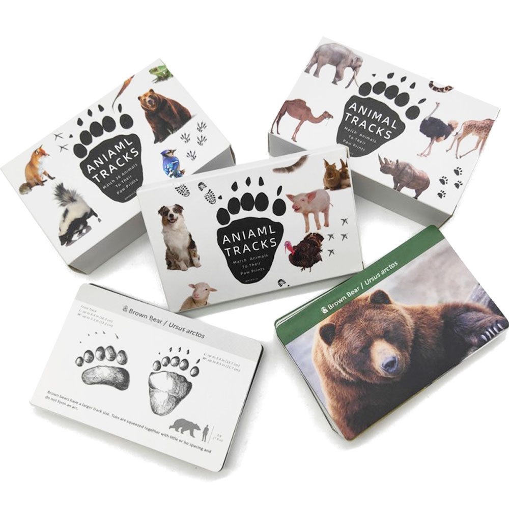 Montessori Baby Animal Footprints With Matching Cards Learning Word Card Education Toys Montessori Materials Gift For Children