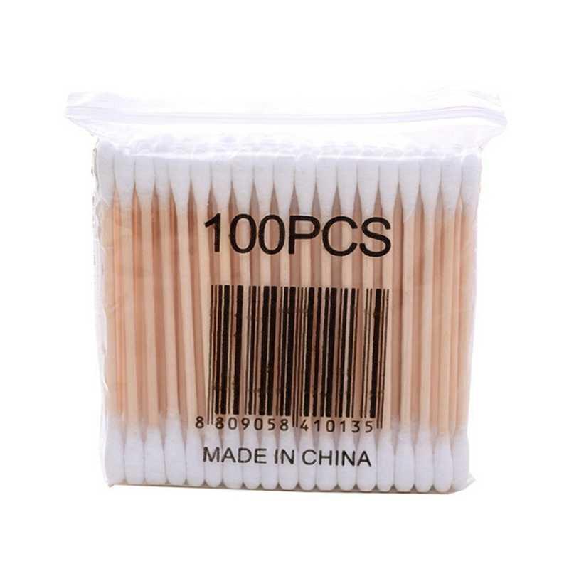 100 Chiếc Bông Tăm Bông Đầu Đầu Tiên Viện Trợ Diệt Khuẩn Làm Sạch Tai Miếng Gỗ Trang Điểm Sức Khỏe Dụng Cụ Băng Vệ Sinh Cotonete