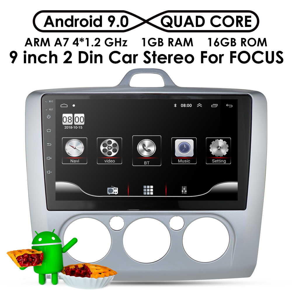 9 inch Android 9.0 Car Radio For <font><b>ford</b></font> <font><b>focus</b></font> EXI MT 2 3 Mk2 2004 <font><b>2005</b></font> 2006 2007 2008 2009-2011 2Din <font><b>GPS</b></font> Multimedia Player OBD DVR image