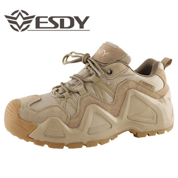 Men Outdoor Army Military Combat Training Tactical Low Shoes Climbing Hunting Cowhide Breathable Wear-resistant Non-slip Boots
