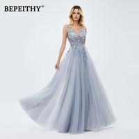 2020 A linr Gray Long Dress Evening Dresses With Slit Robe De Mariee Elegant Lace Prom Party Gown платье вечернее