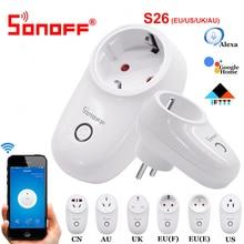 Sonoff S26 WiFi смарт-разъем ЕС США Великобритания AU CN Автоматизация умный дом удаленный переключатель совместим с eWelink Alexa Amazon Google Home