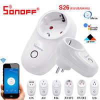 Sonoff S26 WiFi prise intelligente ue états-unis royaume-uni AU CN automatisation intelligente maison commutateur à distance Compatible avec eWelink Alexa Amazon Google Home