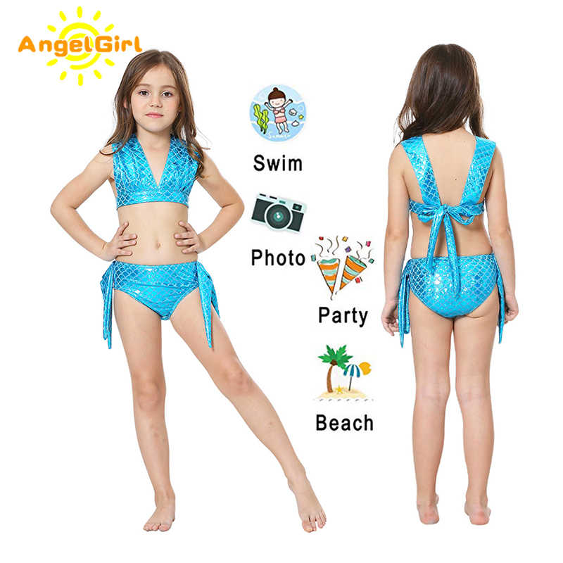 AngelGirl 2020 Kinderen Zwemmen Mermaid Staart Met Flipper Meisjes Mermaid Cosplay Kostuum Kinderen Swimable Strand Bikini Pak mermaid tail zeemeerminstaart