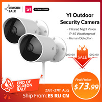 YI-cámara de seguridad exterior 1080p, almacenamiento en la nube, wifi, 2,4G, IP, impermeable, visión nocturna infrarroja, detección de movimiento, 2 uds.