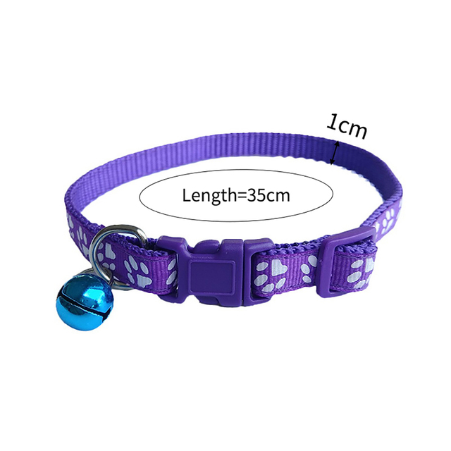 Kitten Paw Print Collar With Bell  6