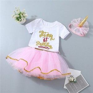 Image 5 - Del bambino delle ragazze 1st compleanno vestiti set 3 pcs Infantili primi Di Compleanno abiti Tuta top tutu pettiskirt set con la fascia