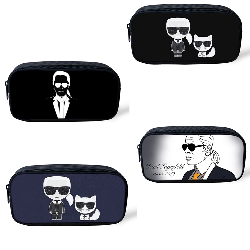 Karl Lagerfelds Zipper Pencil Cases Kids Child Pencil Box Students Cartoon Pen Bags Large Capacity School Stationery Supplies