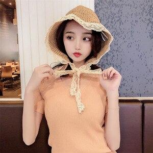 Coreia do verão chapéus para as mulheres palha chapéu de sol senhora meninas laço fita arco panma praia chapéu floppy feminino viagem dobrável chapeu