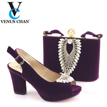 High Quality Purple Color African Designer Shoes And Bag Set To Match Italian Party Shoes With Matching Bags Set